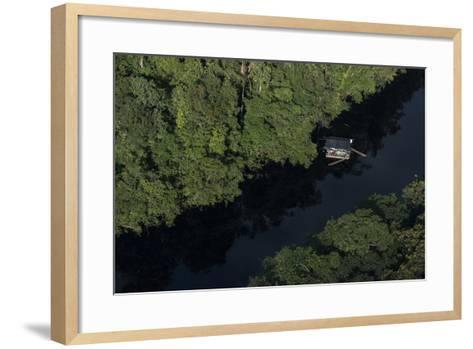 Houseboat on River. Potaro-Siparuni Region. Brazil, Guyana Border, Guyana-Pete Oxford-Framed Art Print