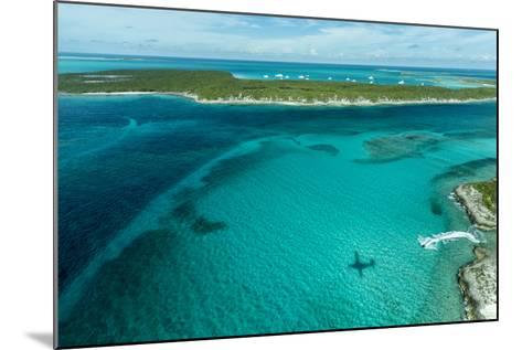 Looking Down at Airplane's Shadow, Jet Ski, Clear Tropical Water and Islands, Exuma Chain, Bahamas-James White-Mounted Photographic Print
