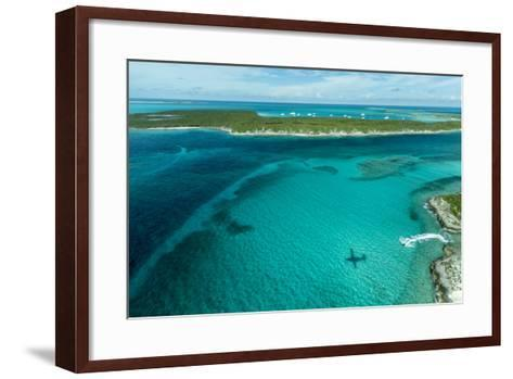 Looking Down at Airplane's Shadow, Jet Ski, Clear Tropical Water and Islands, Exuma Chain, Bahamas-James White-Framed Art Print