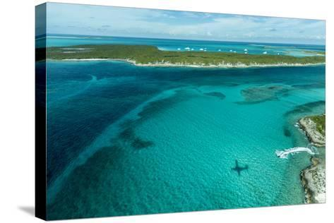 Looking Down at Airplane's Shadow, Jet Ski, Clear Tropical Water and Islands, Exuma Chain, Bahamas-James White-Stretched Canvas Print
