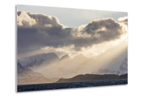 South Georgia Island, Bay of Isles. Storm Clouds over Mountains at Sunset-Jaynes Gallery-Metal Print