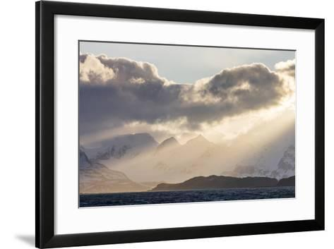 South Georgia Island, Bay of Isles. Storm Clouds over Mountains at Sunset-Jaynes Gallery-Framed Art Print