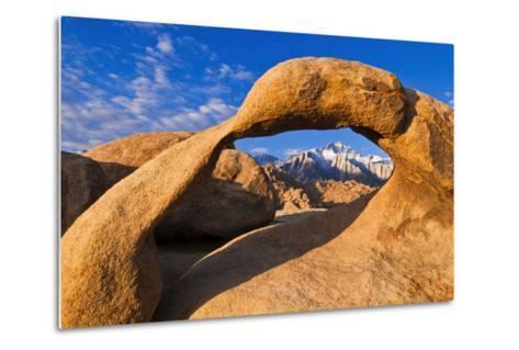 Dawn Light on Lone Pine Peak Through Mobius Arch, Inyo National Forest, California-Russ Bishop-Metal Print