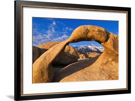 Dawn Light on Lone Pine Peak Through Mobius Arch, Inyo National Forest, California-Russ Bishop-Framed Art Print