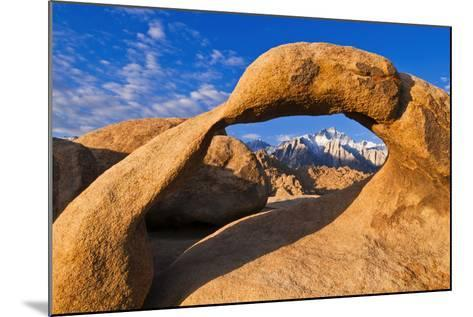 Dawn Light on Lone Pine Peak Through Mobius Arch, Inyo National Forest, California-Russ Bishop-Mounted Photographic Print