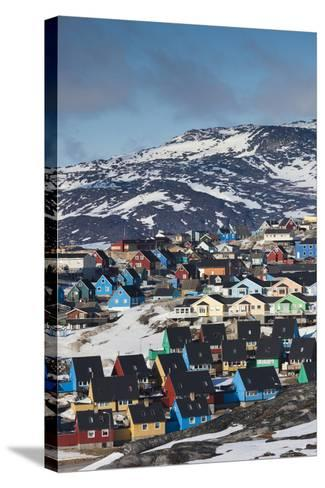 Greenland, Disko Bay, Ilulissat, Elevated Town View-Walter Bibikow-Stretched Canvas Print
