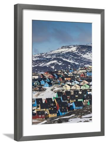 Greenland, Disko Bay, Ilulissat, Elevated Town View-Walter Bibikow-Framed Art Print