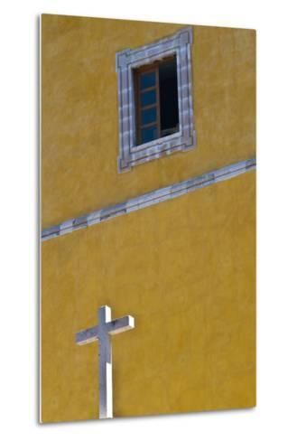 Mexico, Guanajuato. White Cross Against a Yellow Church Wall with Open Window-Judith Zimmerman-Metal Print