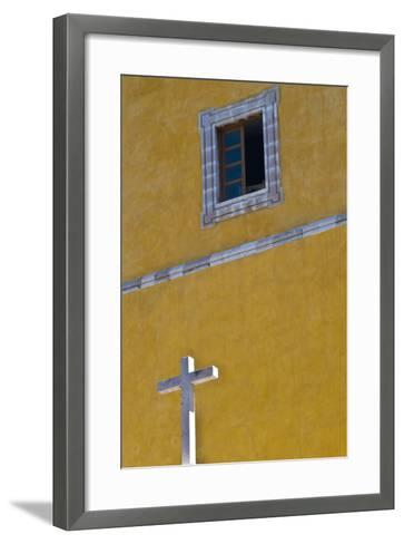 Mexico, Guanajuato. White Cross Against a Yellow Church Wall with Open Window-Judith Zimmerman-Framed Art Print