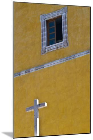 Mexico, Guanajuato. White Cross Against a Yellow Church Wall with Open Window-Judith Zimmerman-Mounted Photographic Print