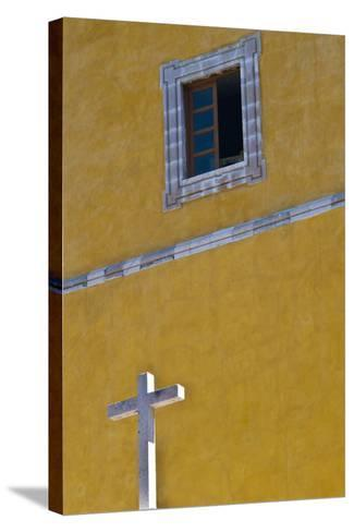 Mexico, Guanajuato. White Cross Against a Yellow Church Wall with Open Window-Judith Zimmerman-Stretched Canvas Print