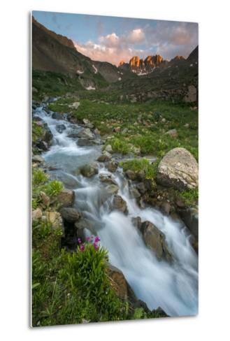 Colorado, Rocky Mountain Sunset in American Basin with Stream and Alpine Wildflowers-Judith Zimmerman-Metal Print