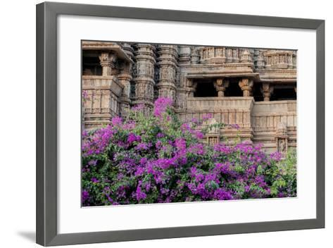 India, Madhya Pradesh State Temple of Kandariya with Bushes of Bougainvillea Flowers in Foreground-Ellen Clark-Framed Art Print