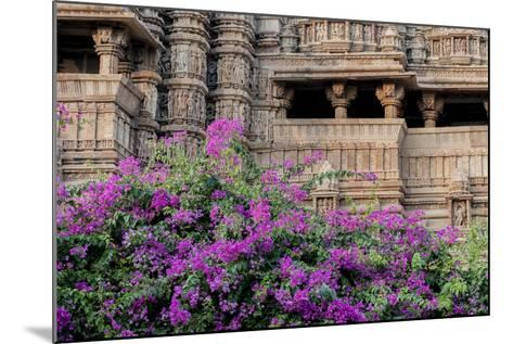 India, Madhya Pradesh State Temple of Kandariya with Bushes of Bougainvillea Flowers in Foreground-Ellen Clark-Mounted Photographic Print