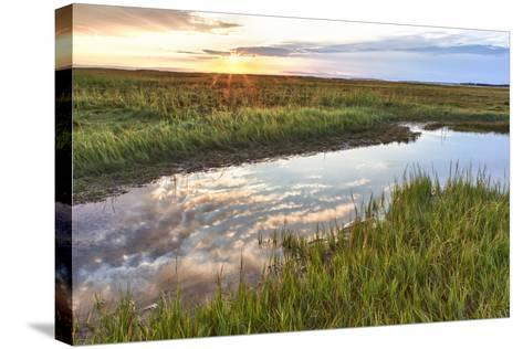 Sunset over Tidal Marsh at Massachusetts Audubon Wellfleet Bay Wildlife Sanctuary-Jerry and Marcy Monkman-Stretched Canvas Print