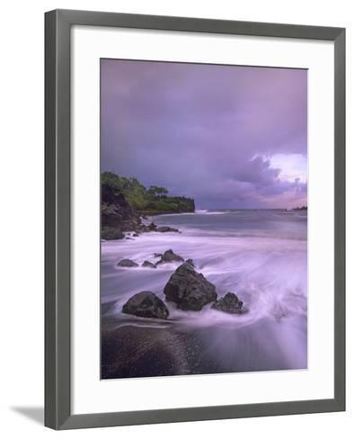 Black Sand Beach, Waianapanapa State Park, Maui, Hawaii, Usa-Tim Fitzharris-Framed Art Print