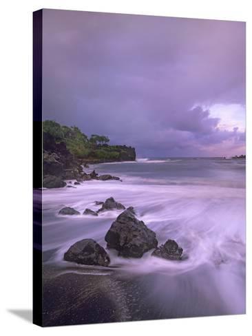 Black Sand Beach, Waianapanapa State Park, Maui, Hawaii, Usa-Tim Fitzharris-Stretched Canvas Print