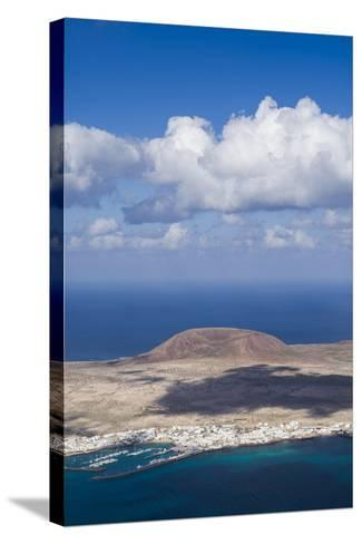 Spain, Canary Islands, Lanzarote, Ye, Elevated View over Isla Graciosa Island-Walter Bibikow-Stretched Canvas Print