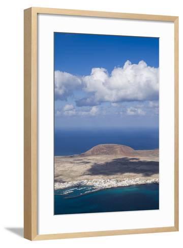 Spain, Canary Islands, Lanzarote, Ye, Elevated View over Isla Graciosa Island-Walter Bibikow-Framed Art Print