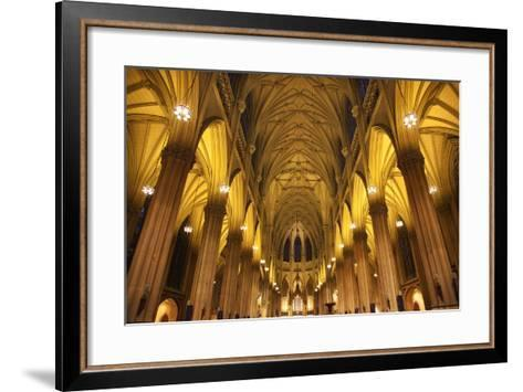 Saint Patrick's Cathedral, Inside, Arches, Stained Glass, New York City-William Perry-Framed Art Print