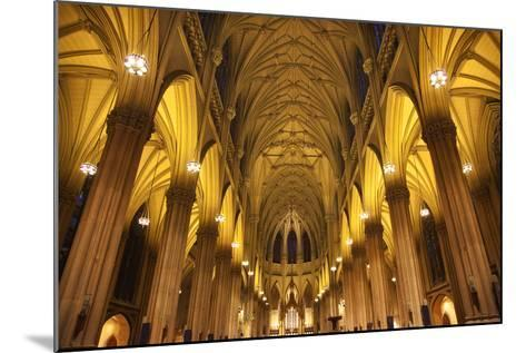 Saint Patrick's Cathedral, Inside, Arches, Stained Glass, New York City-William Perry-Mounted Photographic Print