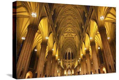 Saint Patrick's Cathedral, Inside, Arches, Stained Glass, New York City-William Perry-Stretched Canvas Print