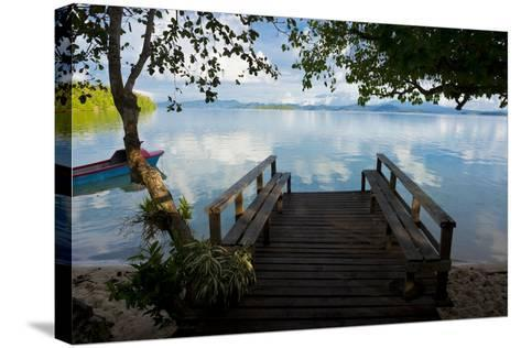 Pier of an Eco Lodge Above the Water of the Marovo Lagoon, Solomon Islands, Pacific-Michael Runkel-Stretched Canvas Print