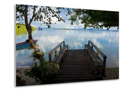 Pier of an Eco Lodge Above the Water of the Marovo Lagoon, Solomon Islands, Pacific-Michael Runkel-Metal Print
