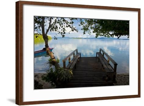 Pier of an Eco Lodge Above the Water of the Marovo Lagoon, Solomon Islands, Pacific-Michael Runkel-Framed Art Print