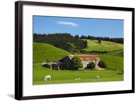 Old Stone Barn and Farmland, Near Taieri Mouth, Dunedin, Otago, South Island, New Zealand-David Wall-Framed Art Print