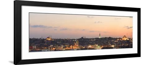 Panorama. Suleymaniye Mosque, the Blue Mosque and Hagia Sophia. the Golden Horn. Istanbul. Turkey-Tom Norring-Framed Art Print