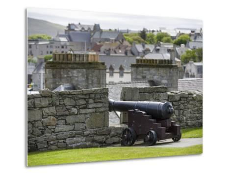 Lerwick. the Historic Center, Fort Charlotte with a View over Lerwick Towards the Island of Bressay-Martin Zwick-Metal Print