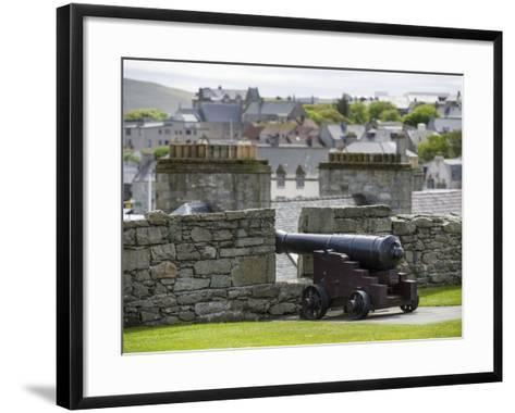 Lerwick. the Historic Center, Fort Charlotte with a View over Lerwick Towards the Island of Bressay-Martin Zwick-Framed Art Print