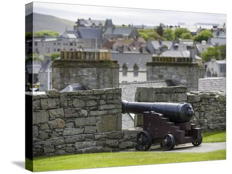 Lerwick. the Historic Center, Fort Charlotte with a View over Lerwick Towards the Island of Bressay-Martin Zwick-Stretched Canvas Print