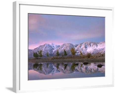 Carson Range Reflected in Carson River at Sunset, Nevada, Usa-Tim Fitzharris-Framed Art Print