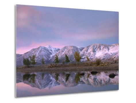 Carson Range Reflected in Carson River at Sunset, Nevada, Usa-Tim Fitzharris-Metal Print