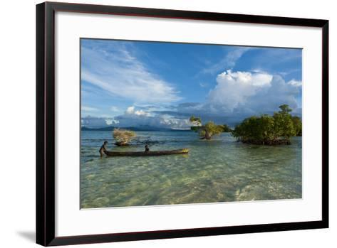Young Boys Fishing in the Marovo Lagoon before Dramatic Clouds, Solomon Islands, South Pacific-Michael Runkel-Framed Art Print