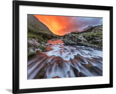 Brilliant Sunrise Sky over Swiftcurrent Falls in Glacier National Park, Montana, Usa-Chuck Haney-Framed Art Print