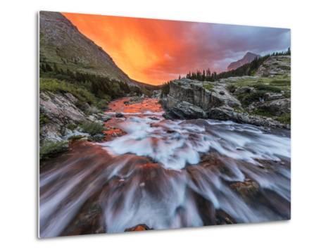 Brilliant Sunrise Sky over Swiftcurrent Falls in Glacier National Park, Montana, Usa-Chuck Haney-Metal Print