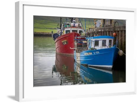 Fishing Boats Along the Pier in Dingle Harbor, Dingle, County Kerry, Republic of Ireland-Brian Jannsen-Framed Art Print
