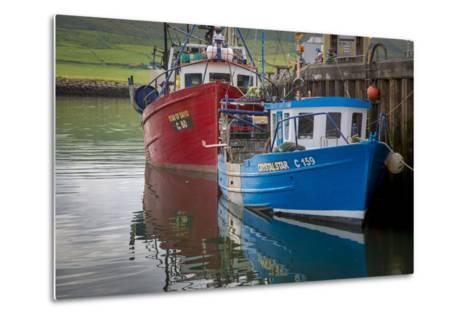 Fishing Boats Along the Pier in Dingle Harbor, Dingle, County Kerry, Republic of Ireland-Brian Jannsen-Metal Print