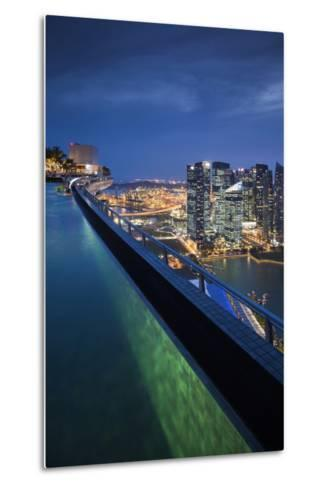 Singapore, Rooftop Swimming Pool at Dusk Overlooks the City-Walter Bibikow-Metal Print