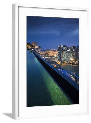 Singapore, Rooftop Swimming Pool at Dusk Overlooks the City-Walter Bibikow-Framed Art Print