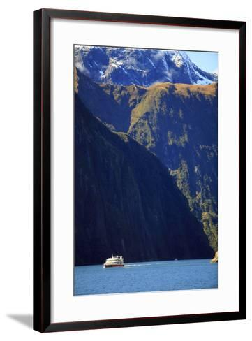 A Cruise Ship on the Waters of Milford Sound in the South Island of New Zealand-Paul Dymond-Framed Art Print