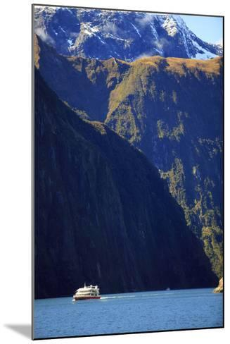 A Cruise Ship on the Waters of Milford Sound in the South Island of New Zealand-Paul Dymond-Mounted Photographic Print
