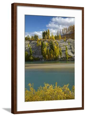 Autumn Colour at Bannockburn, and Kawarau Arm of Lake Dunstan, South Island, New Zealand-David Wall-Framed Art Print