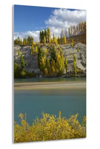 Autumn Colour at Bannockburn, and Kawarau Arm of Lake Dunstan, South Island, New Zealand-David Wall-Metal Print