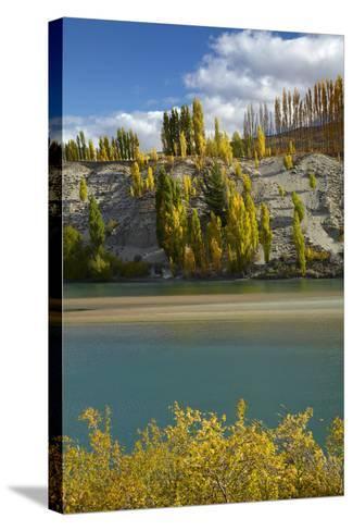 Autumn Colour at Bannockburn, and Kawarau Arm of Lake Dunstan, South Island, New Zealand-David Wall-Stretched Canvas Print