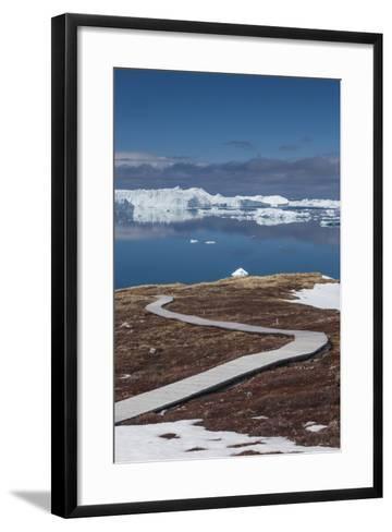 Greenland, Disko Bay, Ilulissat, Sermermiut Ruins Hike, Hiking Walkway-Walter Bibikow-Framed Art Print
