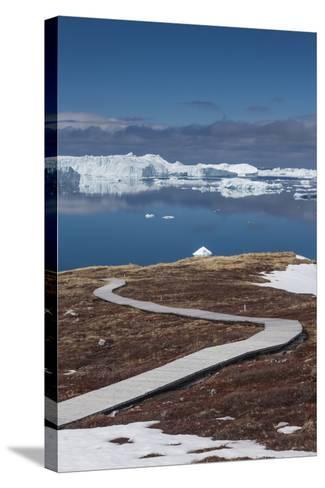 Greenland, Disko Bay, Ilulissat, Sermermiut Ruins Hike, Hiking Walkway-Walter Bibikow-Stretched Canvas Print